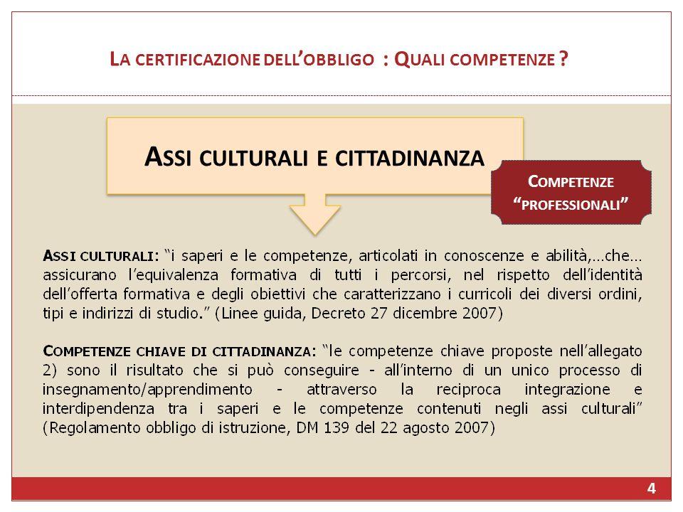L A CERTIFICAZIONE DELL OBBLIGO : Q UALI COMPETENZE ? A SSI CULTURALI E CITTADINANZA C OMPETENZE PROFESSIONALI 4