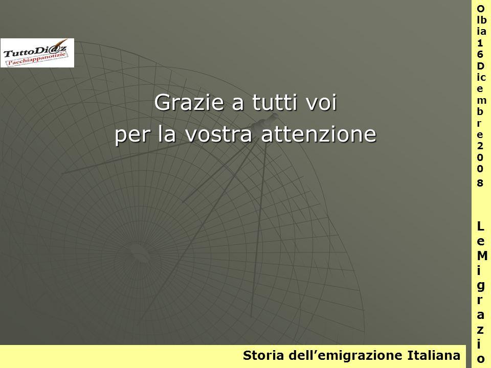 Storia dellemigrazione Italiana O lb ia 1 6 D ic e m b r e 2 0 0 8 L e M i g r a z i o n i Grazie a tutti voi per la vostra attenzione
