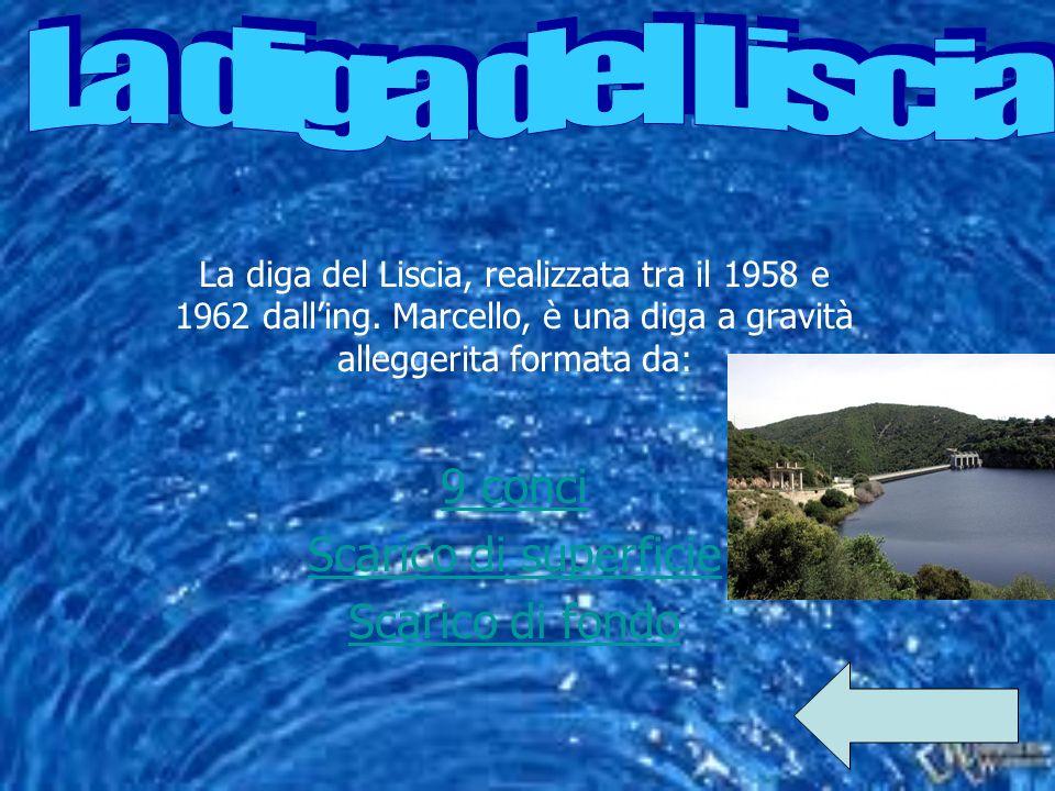 La diga del Liscia, realizzata tra il 1958 e 1962 dalling. Marcello, è una diga a gravità alleggerita formata da: 9 conci Scarico di superficie Scaric