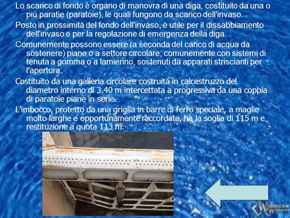 Lo scarico di fondo è organo di manovra di una diga, costituito da una o più paratie (paratoie), le quali fungono da scarico dell'invaso. Posto in pro