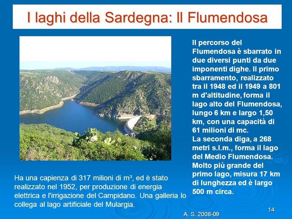 A. S. 2008-09 14 I laghi della Sardegna: Il Flumendosa Il percorso del Flumendosa è sbarrato in due diversi punti da due imponenti dighe. Il primo sba