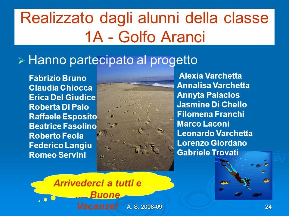 A. S. 2008-0924 Realizzato dagli alunni della classe 1A - Golfo Aranci Hanno partecipato al progetto Alexia Varchetta Annalisa Varchetta Annyta Palaci