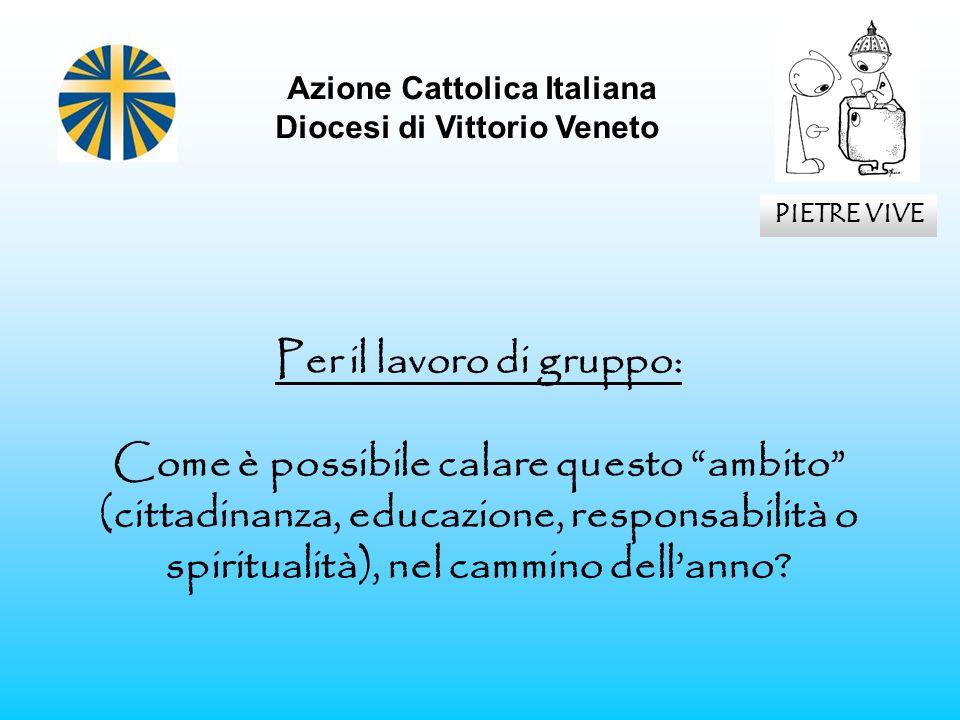 Azione Cattolica Italiana Diocesi di Vittorio Veneto PIETRE VIVE Per il lavoro di gruppo: Come è possibile calare questo ambito (cittadinanza, educazi