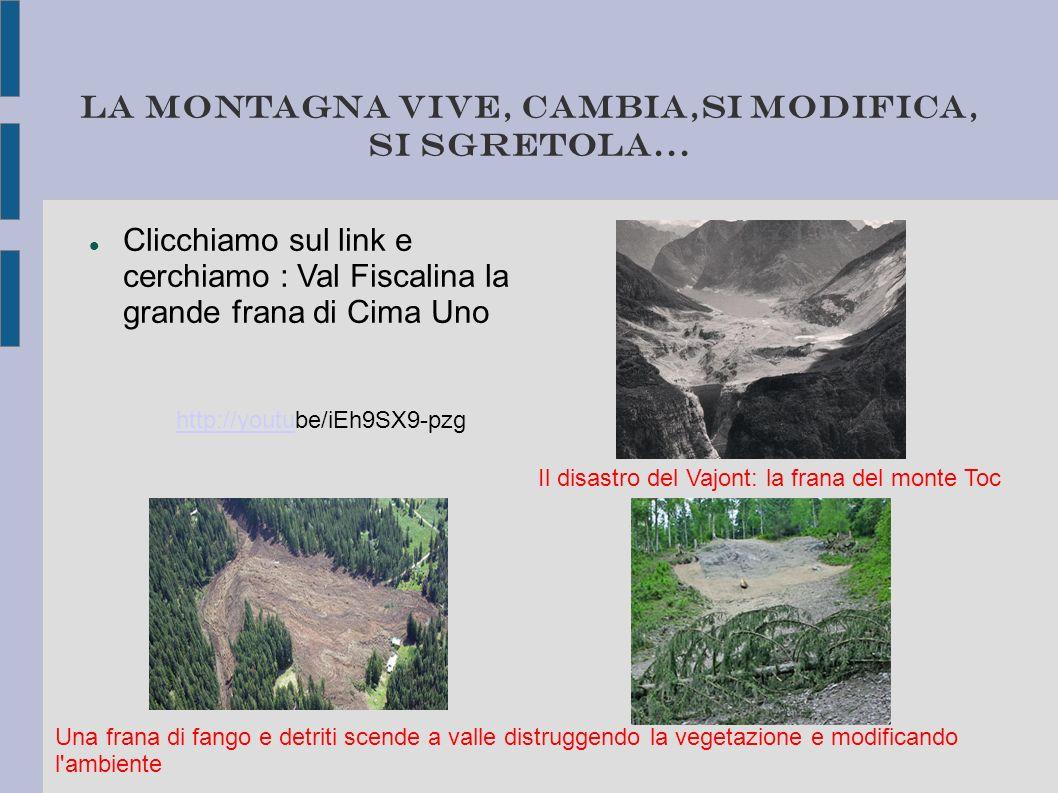 La montagna vive, cambia,si modifica, si sgretola... Clicchiamo sul link e cerchiamo : Val Fiscalina la grande frana di Cima Uno http://youtuhttp://yo