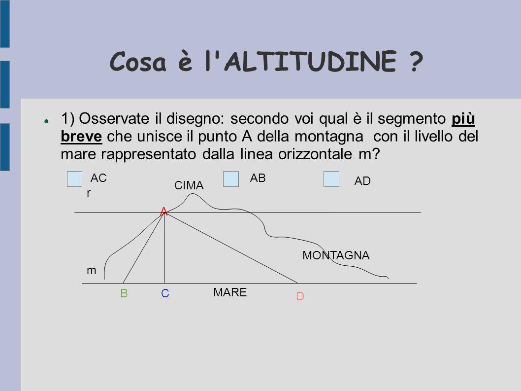 Cosa è l'ALTITUDINE ? 1) Osservate il disegno: secondo voi qual è il segmento più breve che unisce il punto A della montagna con il livello del mare r