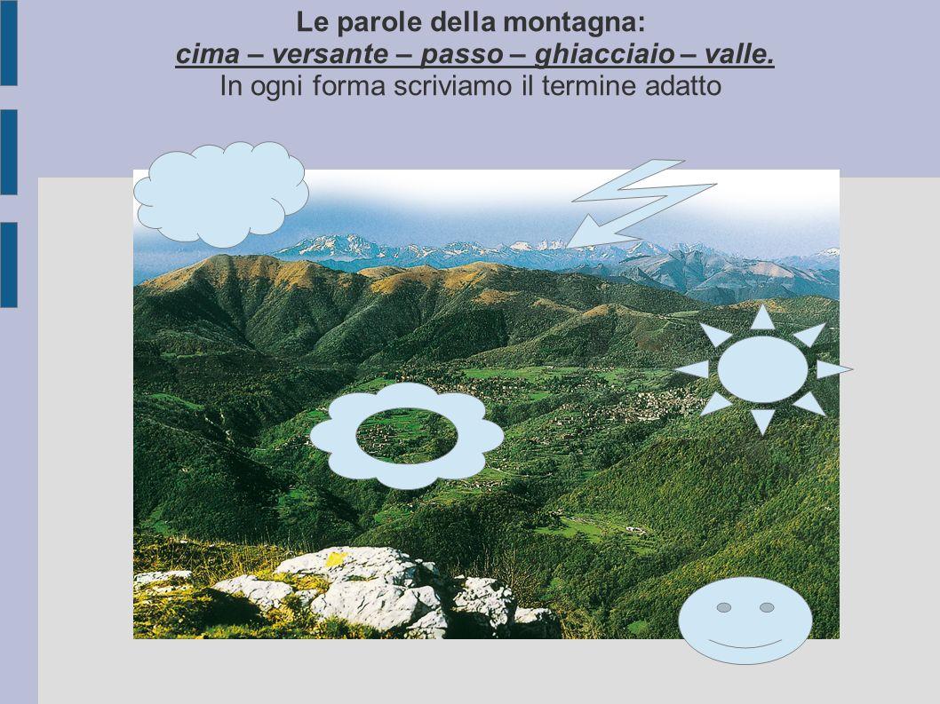 Le parole della montagna: cima – versante – passo – ghiacciaio – valle. In ogni forma scriviamo il termine adatto