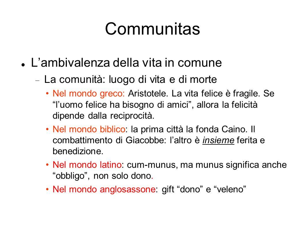 Communitas Lambivalenza della vita in comune La comunità: luogo di vita e di morte Nel mondo greco: Aristotele.