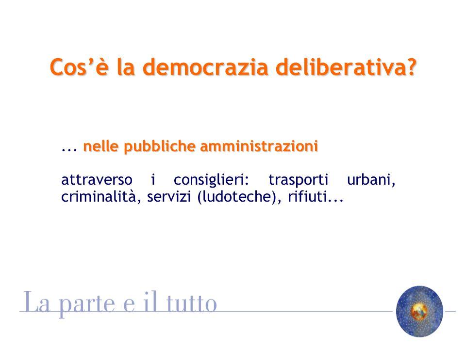 Cosè la democrazia deliberativa. nelle pubbliche amministrazioni...