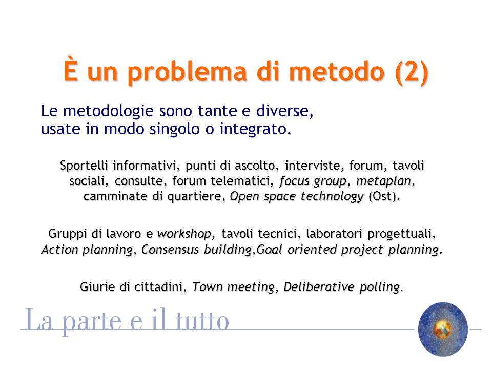 È un problema di metodo (2) Le metodologie sono tante e diverse,.