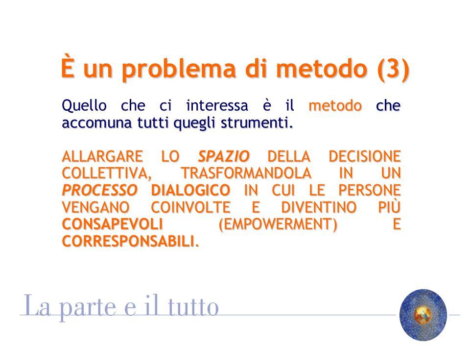 È un problema di metodo (3) metodo che accomuna tutti quegli strumenti.