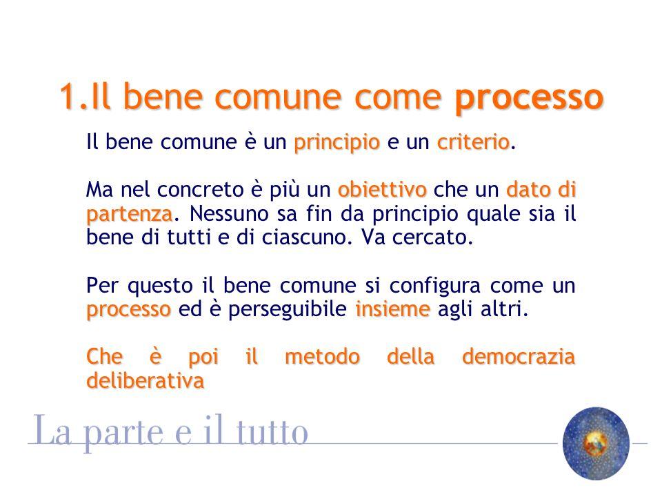 1.Il bene comune come processo principiocriterio Il bene comune è un principio e un criterio.
