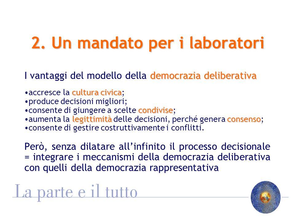 2. Un mandato per i laboratori democrazia deliberativa I vantaggi del modello della democrazia deliberativa culturacivicaaccresce la cultura civica; p