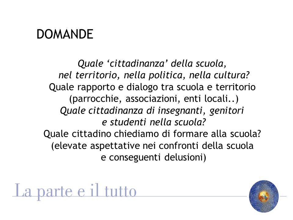 DOMANDE Quale cittadinanza della scuola, nel territorio, nella politica, nella cultura.