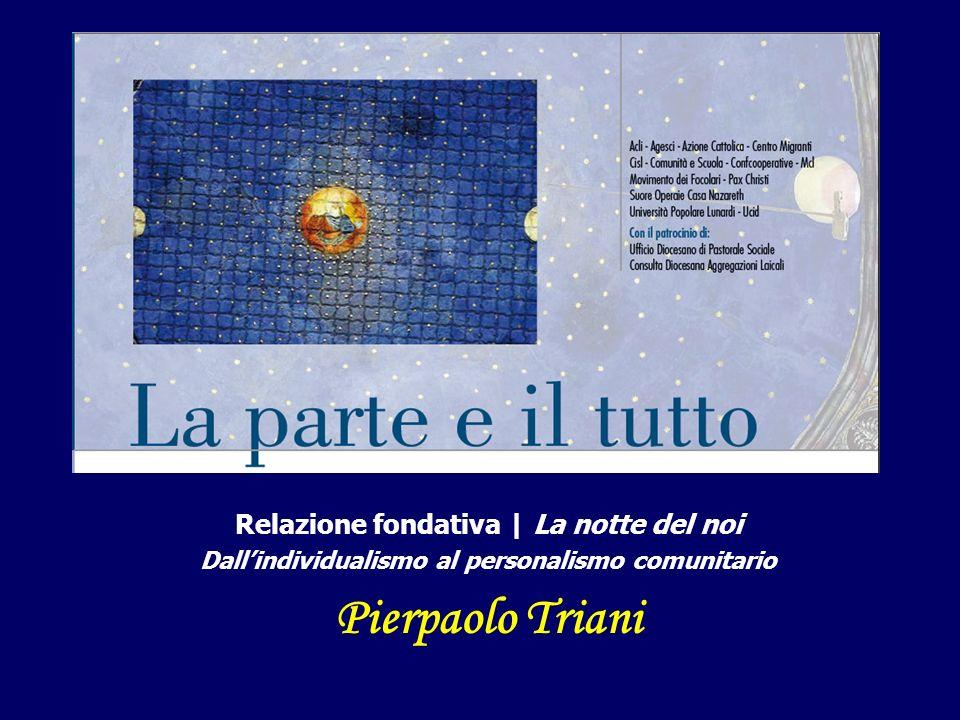 Relazione fondativa | La notte del noi Dallindividualismo al personalismo comunitario Pierpaolo Triani