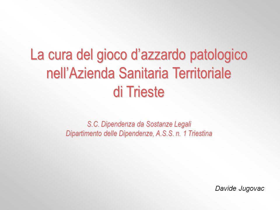2000 – consapevolezza del bisogno 2001 – primi percorsi di cura 2002 – primo gruppo terapeutico La cura del gioco dazzardo patologico nellAzienda Sanitaria Territoriale di Trieste