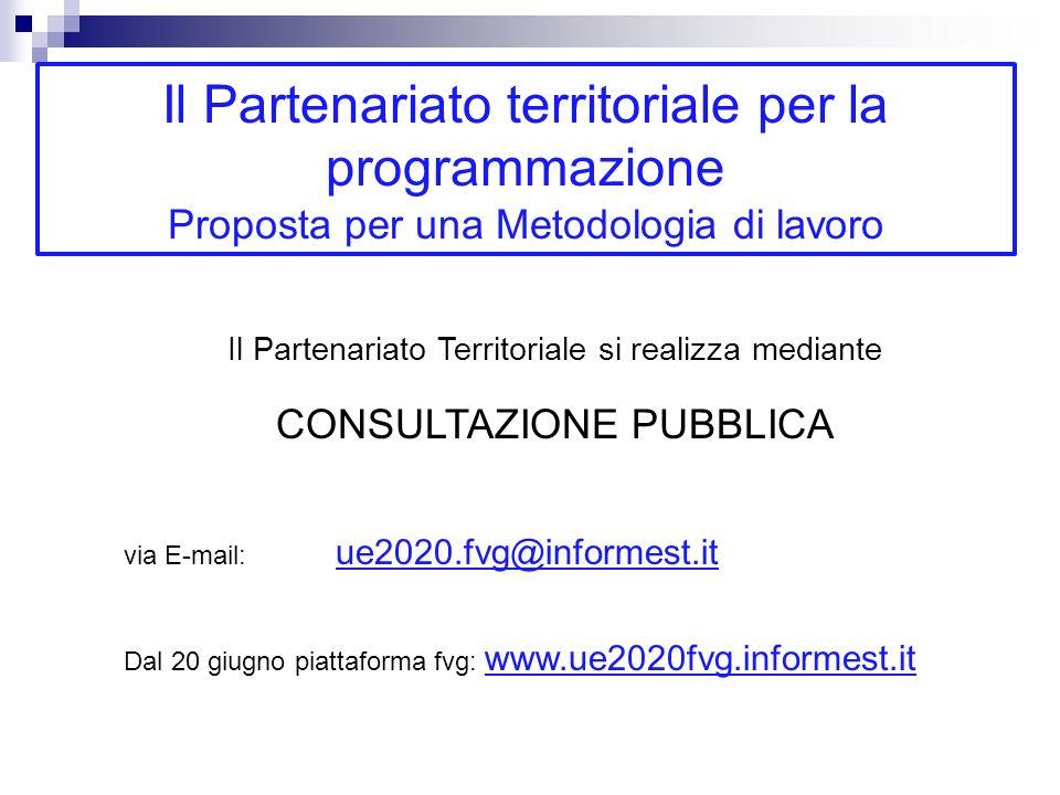 Il Partenariato Territoriale si realizza mediante CONSULTAZIONE PUBBLICA via E-mail: ue2020.fvg@informest.it Dal 20 giugno piattaforma fvg: www.ue2020