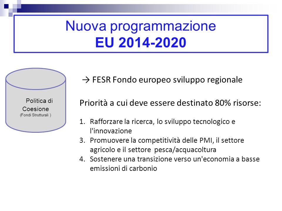 Nuova programmazione EU 2014-2020 Politica di Coesione (Fondi Strutturali ) Commissione UE: per migliore utilizzo Fondi strutturali necessarie strategie di ricerca e innovazione per la specializzazione intelligente Identificare risorse caratteristiche uniche delle singole regioni Evidenziare vantaggi competitivi di ogni regione Riunire risorse e soggetti su visione del futuro basata sulleccellenza