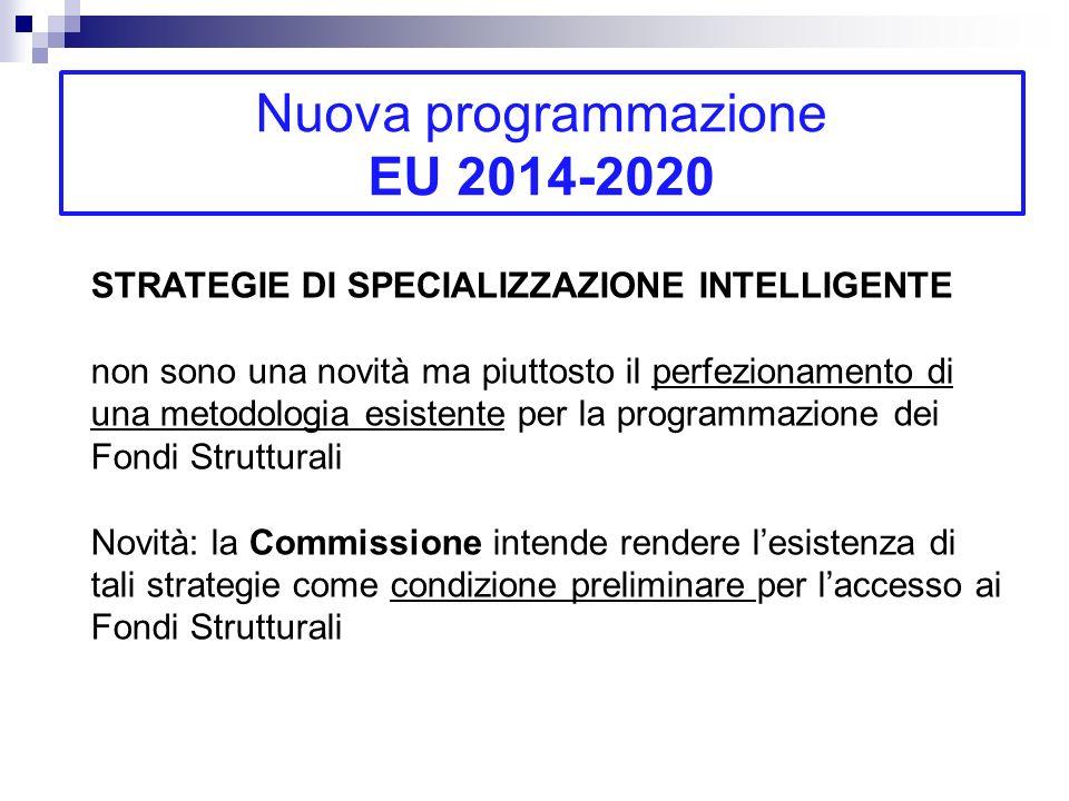 Nuova programmazione EU 2014-2020 STRATEGIE DI SPECIALIZZAZIONE INTELLIGENTE non sono una novità ma piuttosto il perfezionamento di una metodologia es