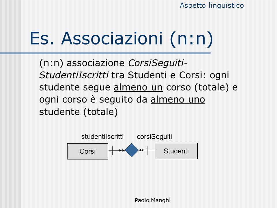 Paolo Manghi Es. Associazioni (n:n) (n:n) associazione CorsiSeguiti- StudentiIscritti tra Studenti e Corsi: ogni studente segue almeno un corso (total