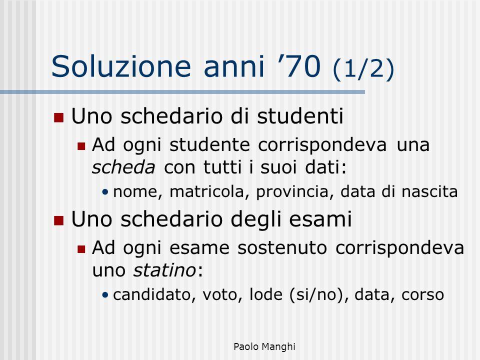 Paolo Manghi Soluzione anni 70 (1/2) Uno schedario di studenti Ad ogni studente corrispondeva una scheda con tutti i suoi dati: nome, matricola, provi