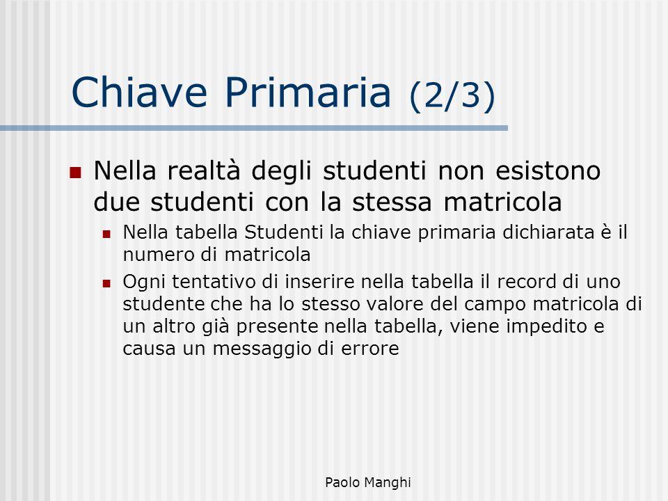 Paolo Manghi Chiave Primaria (2/3) Nella realtà degli studenti non esistono due studenti con la stessa matricola Nella tabella Studenti la chiave prim