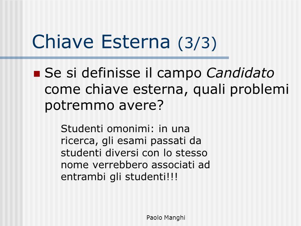 Paolo Manghi Chiave Esterna (3/3) Se si definisse il campo Candidato come chiave esterna, quali problemi potremmo avere? Studenti omonimi: in una rice