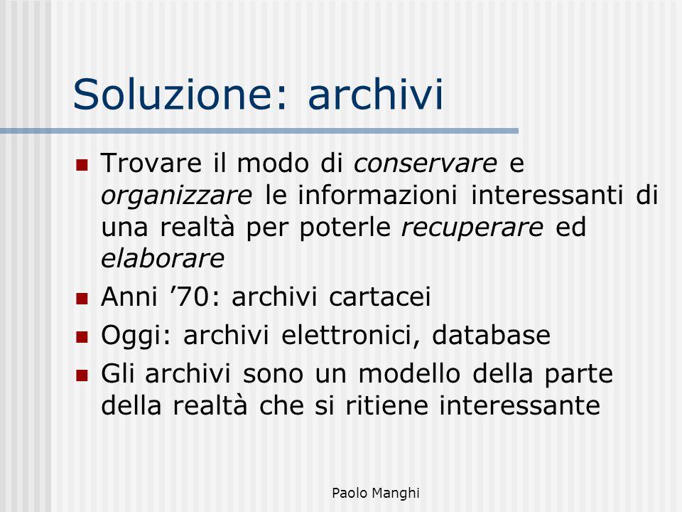 Paolo Manghi Soluzione: archivi Trovare il modo di conservare e organizzare le informazioni interessanti di una realtà per poterle recuperare ed elabo