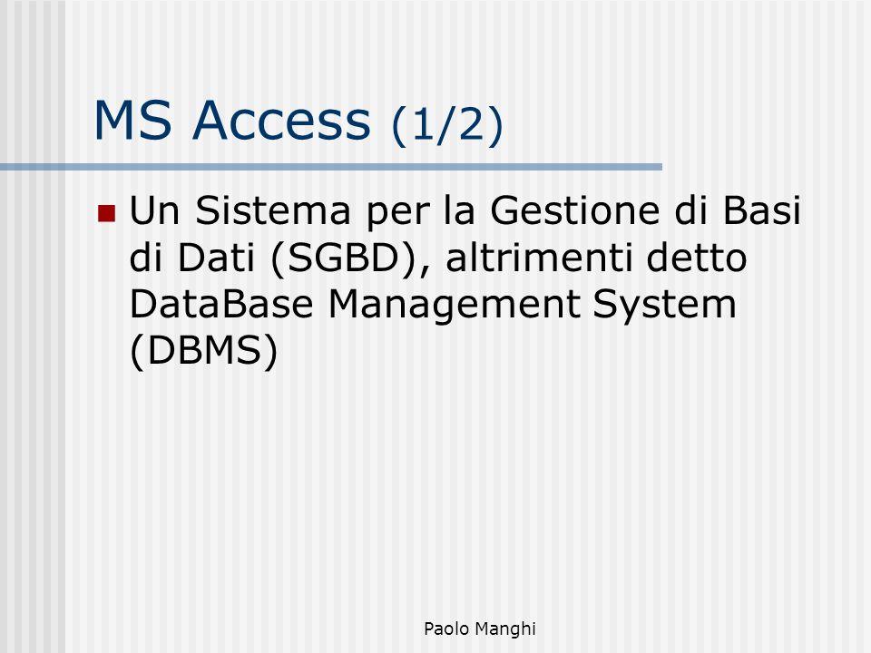 Paolo Manghi MS Access (1/2) Un Sistema per la Gestione di Basi di Dati (SGBD), altrimenti detto DataBase Management System (DBMS)