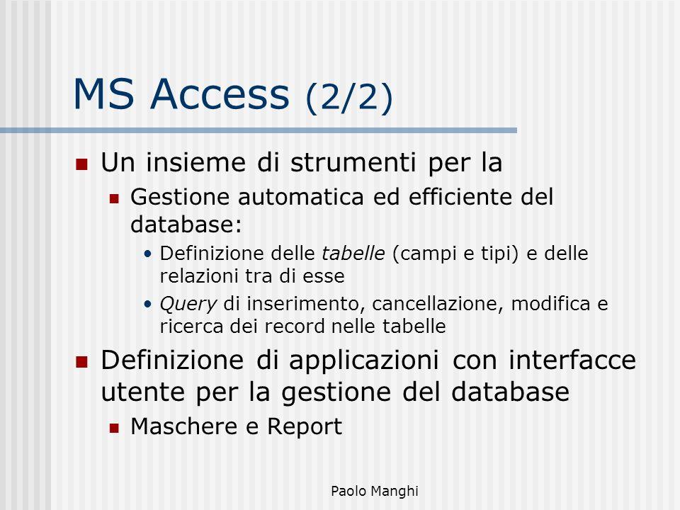 Paolo Manghi MS Access (2/2) Un insieme di strumenti per la Gestione automatica ed efficiente del database: Definizione delle tabelle (campi e tipi) e