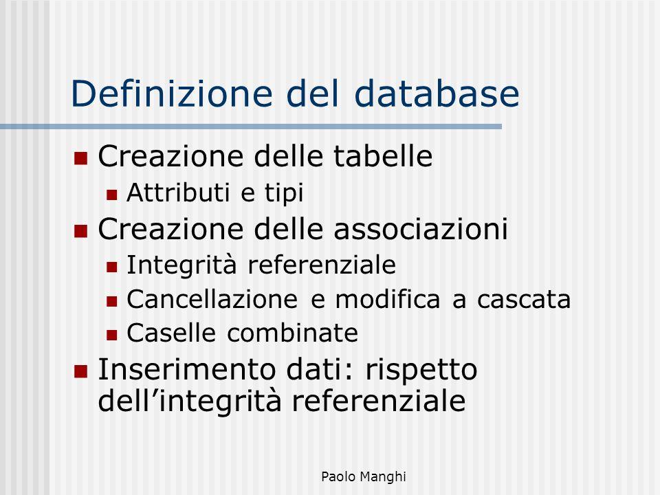 Paolo Manghi Definizione del database Creazione delle tabelle Attributi e tipi Creazione delle associazioni Integrità referenziale Cancellazione e mod