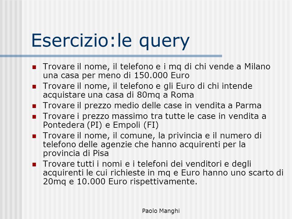 Paolo Manghi Esercizio:le query Trovare il nome, il telefono e i mq di chi vende a Milano una casa per meno di 150.000 Euro Trovare il nome, il telefo