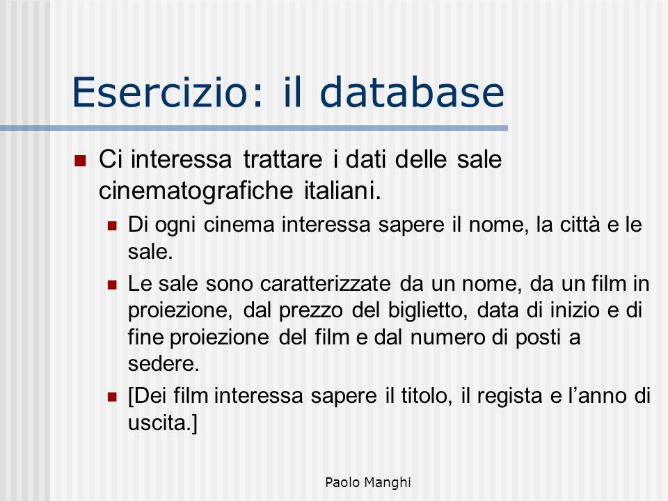 Paolo Manghi Esercizio: il database Ci interessa trattare i dati delle sale cinematografiche italiani. Di ogni cinema interessa sapere il nome, la cit