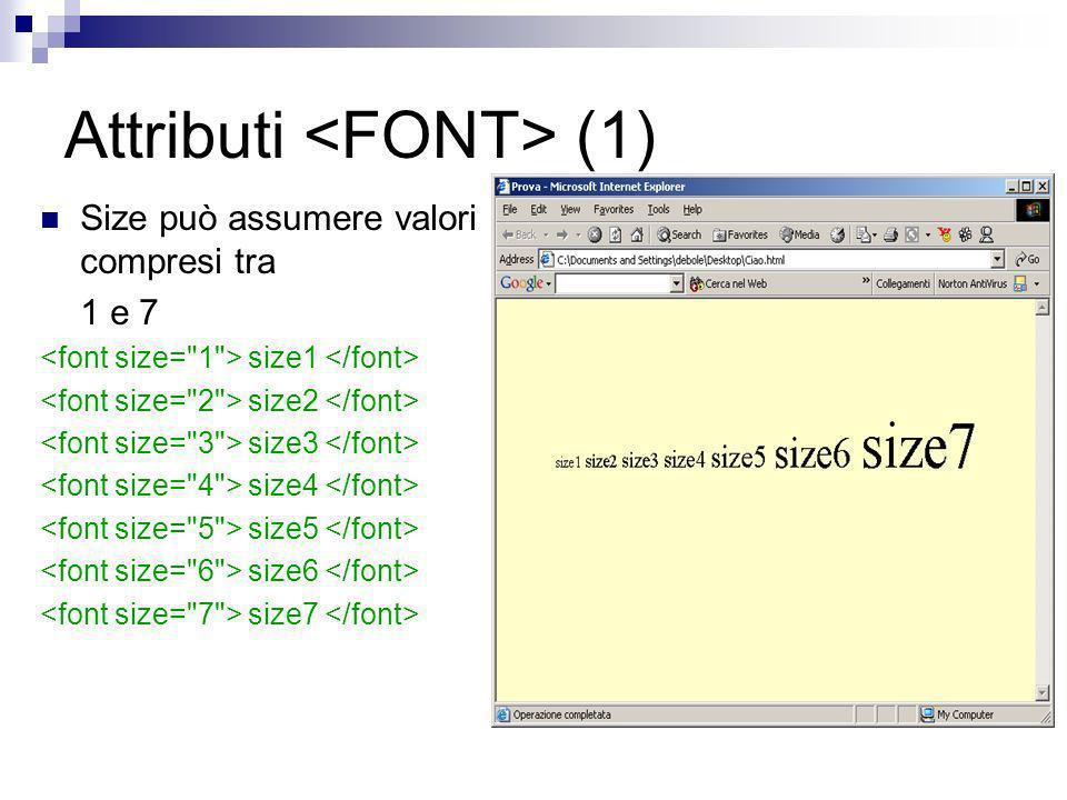 Attributi (1) Size può assumere valori compresi tra 1 e 7 size1 size2 size3 size4 size5 size6 size7