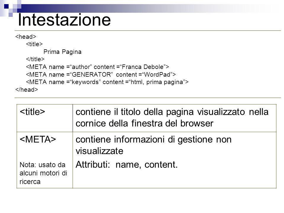 Intestazione Prima Pagina contiene il titolo della pagina visualizzato nella cornice della finestra del browser Nota: usato da alcuni motori di ricerc