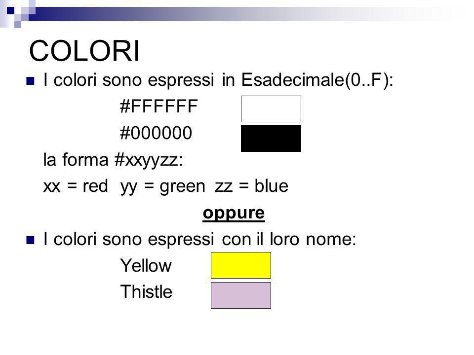 COLORI I colori sono espressi in Esadecimale(0..F): #FFFFFF #000000 la forma #xxyyzz: xx = red yy = green zz = blue oppure I colori sono espressi con