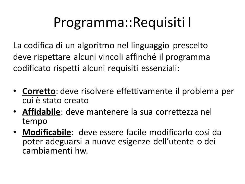 Programma::Requisiti I La codifica di un algoritmo nel linguaggio prescelto deve rispettare alcuni vincoli affinché il programma codificato rispetti a