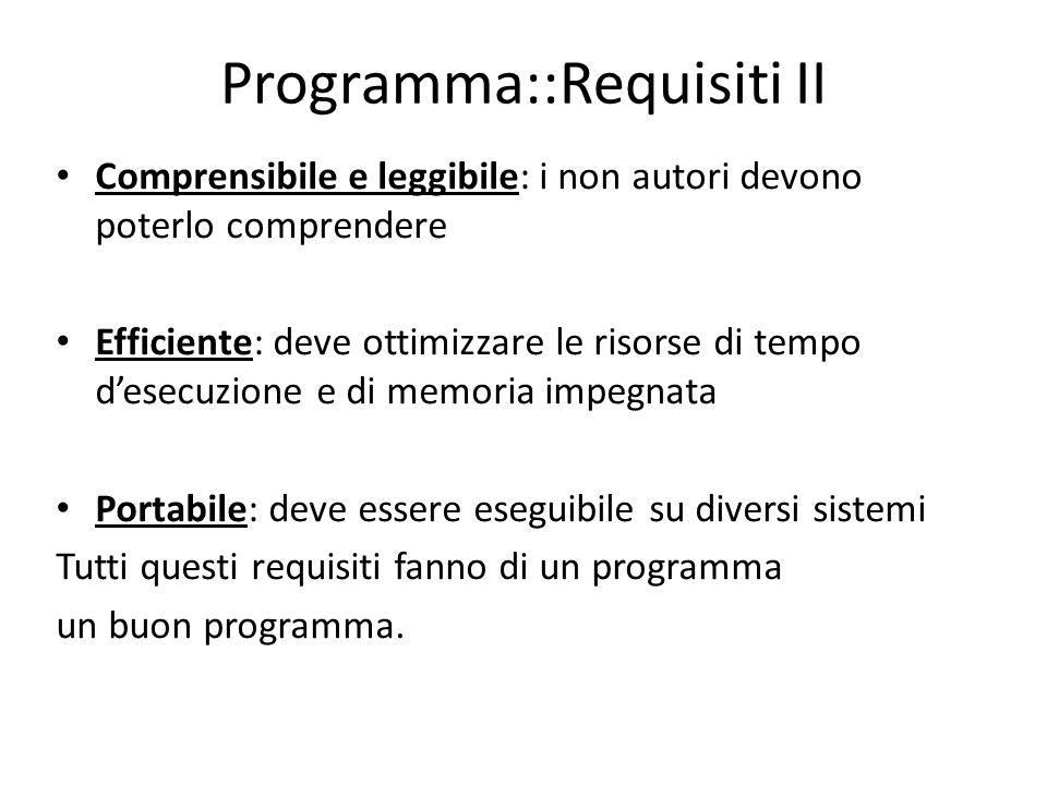 Programma::Requisiti II Comprensibile e leggibile: i non autori devono poterlo comprendere Efficiente: deve ottimizzare le risorse di tempo desecuzion