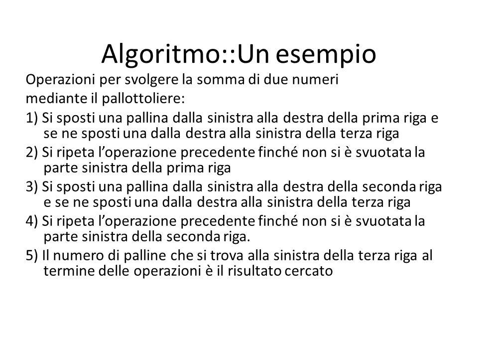 Algoritmo::Un esempio Operazioni per svolgere la somma di due numeri mediante il pallottoliere: 1) Si sposti una pallina dalla sinistra alla destra de