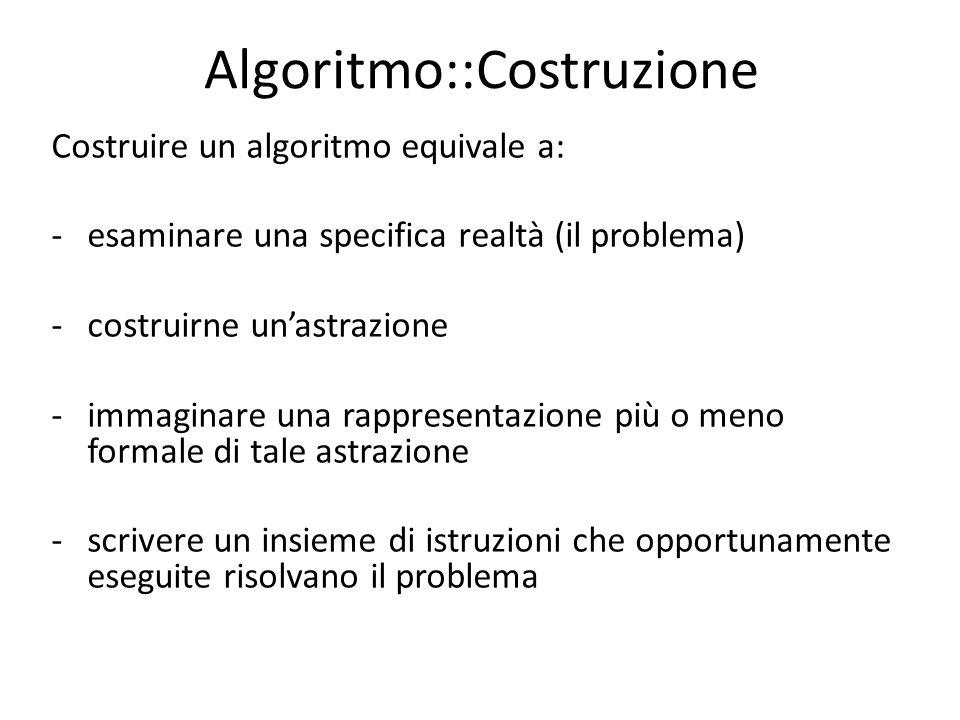 Algoritmo::Costruzione Costruire un algoritmo equivale a: -esaminare una specifica realtà (il problema) -costruirne unastrazione -immaginare una rappr