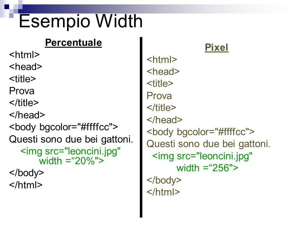 Esempio Width Percentuale Prova Questi sono due bei gattoni. Pixel Prova Questi sono due bei gattoni.