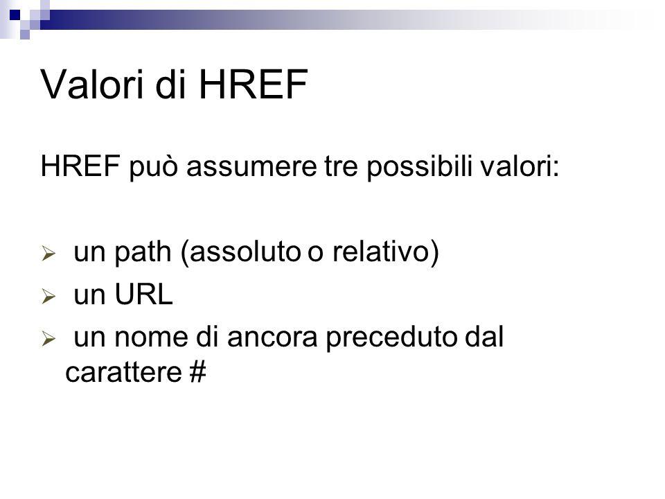Valori di HREF HREF può assumere tre possibili valori: un path (assoluto o relativo) un URL un nome di ancora preceduto dal carattere #