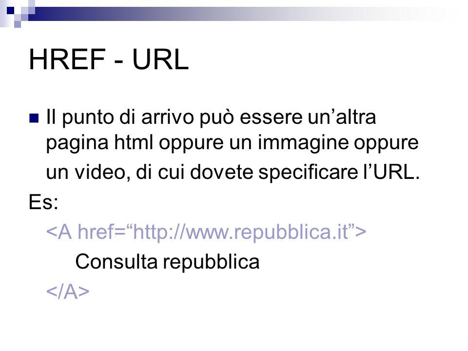 HREF - URL Il punto di arrivo può essere unaltra pagina html oppure un immagine oppure un video, di cui dovete specificare lURL. Es: Consulta repubbli