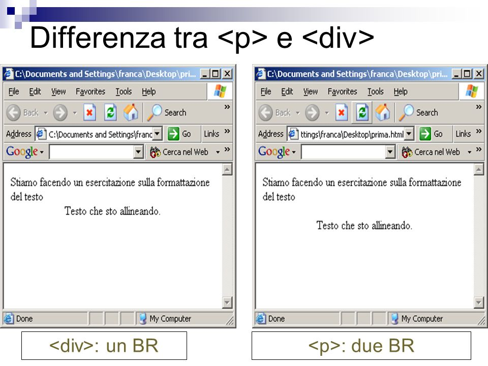 Differenza tra e : un BR : due BR