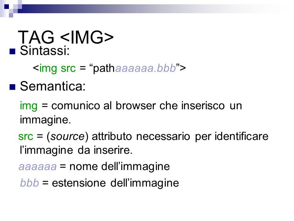 TAG Sintassi: Semantica: img = comunico al browser che inserisco un immagine.