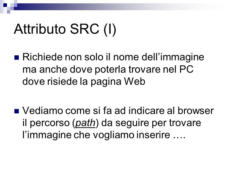 Attributo SRC (I) Richiede non solo il nome dellimmagine ma anche dove poterla trovare nel PC dove risiede la pagina Web Vediamo come si fa ad indicare al browser il percorso (path) da seguire per trovare limmagine che vogliamo inserire ….