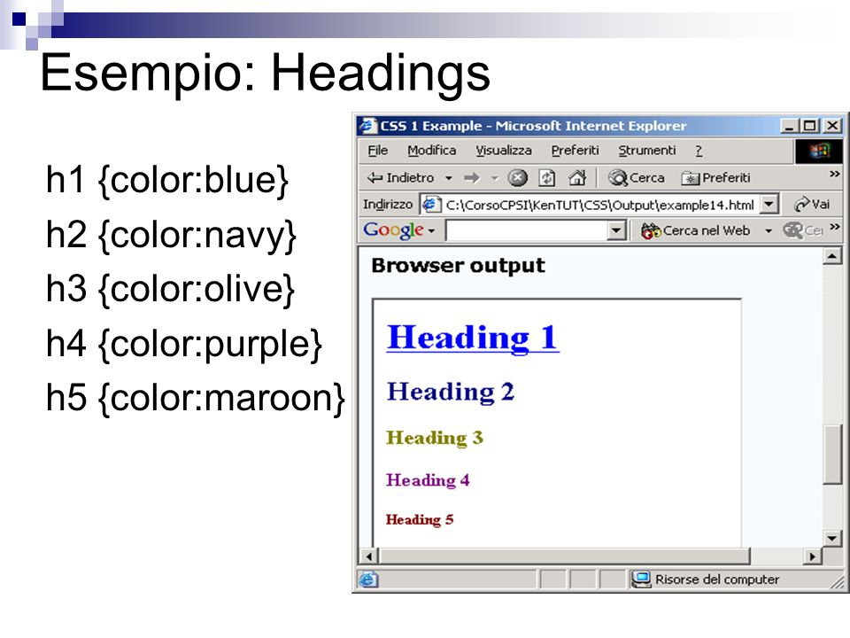 Esempio: Headings h1 {color:blue} h2 {color:navy} h3 {color:olive} h4 {color:purple} h5 {color:maroon}