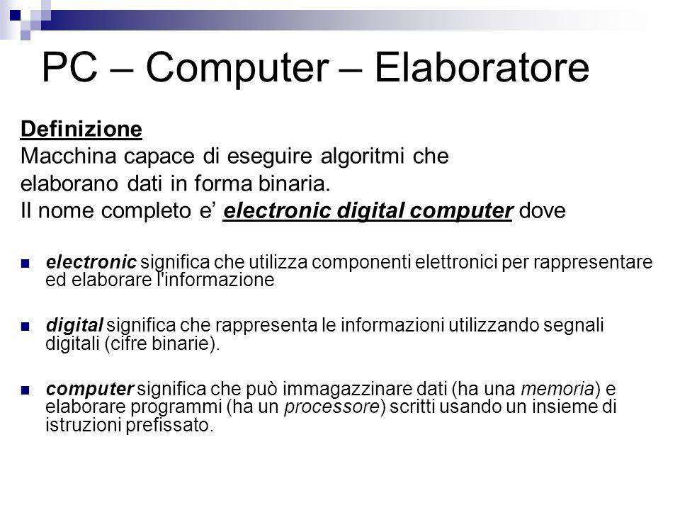 PC – Computer – Elaboratore Definizione Macchina capace di eseguire algoritmi che elaborano dati in forma binaria. Il nome completo e electronic digit