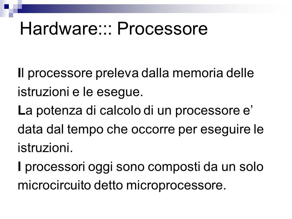 Hardware::: Processore Il processore preleva dalla memoria delle istruzioni e le esegue. La potenza di calcolo di un processore e data dal tempo che o