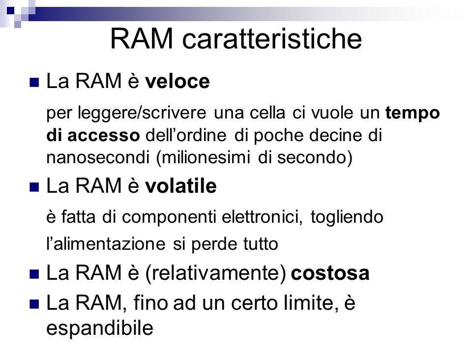 RAM caratteristiche La RAM è veloce per leggere/scrivere una cella ci vuole un tempo di accesso dellordine di poche decine di nanosecondi (milionesimi