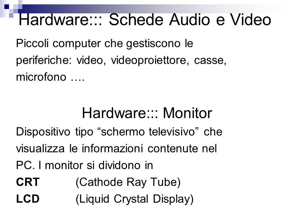 Hardware::: Schede Audio e Video Piccoli computer che gestiscono le periferiche: video, videoproiettore, casse, microfono …. Hardware::: Monitor Dispo
